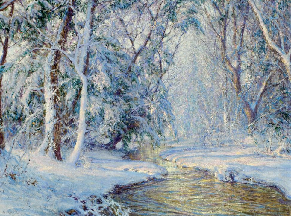 "Large snow scene by Walter Launt Palmer, titled The First Snowfall, 24: by 32"" (est.  $70,000-$90,000)."