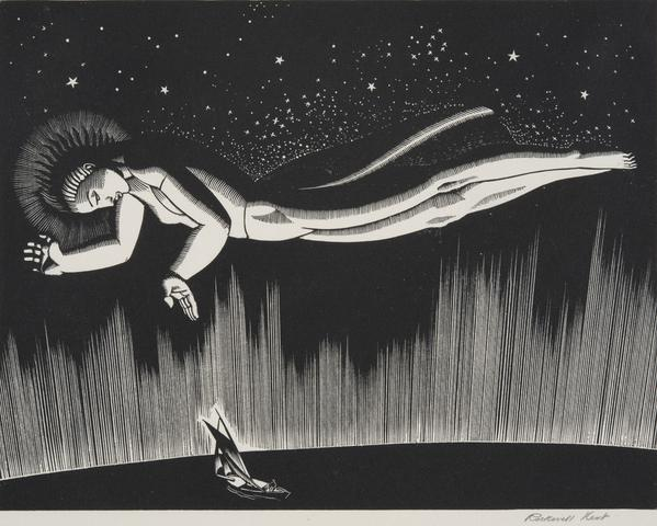 Godspeed, 1931 32.  Rockwell Kent, American, 1882 1971.  Wood engraving, Image: 5 3/8 x 6 15/16 inches (13.7 x 17.6 cm), Sheet: 6 5/16 x 7 7/8 inches (16 x 20 cm).  Philadelphia Museum of Art, Purchased with the Lola Downin Peck Fund from the Carl and Laura Zigrosser Collection, 1971.  © Plattsburgh State Art Museum, State University of New York, USA, Rockwell Kent Collection, Bequest of Sally Kent Gorton,
