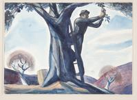 Harvest, 1926.  Rockwell Kent, American, 1882 1971.  Watercolor over graphite on white watercolor paper, mounted on illustration board, Sheet: 10 1/4 x 14 3/16 inches (26 x 36 cm).  Philadelphia Museum of Art, Purchased with the Lola Downin Peck Fund from the Carl and Laura Zigrosser Collection, 1971.  © Plattsburgh State Art Museum, State University of New York, USA, Rockwell Kent Collection, Bequest of Sally Kent Gorton,