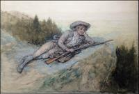 GEORGE HENRY BOUGHTON (1833-1905) Rip Van Winkle at Rest, c.  1893.  Watercolor and gouache on paper.  10 x 14 inches.  Signed lower right