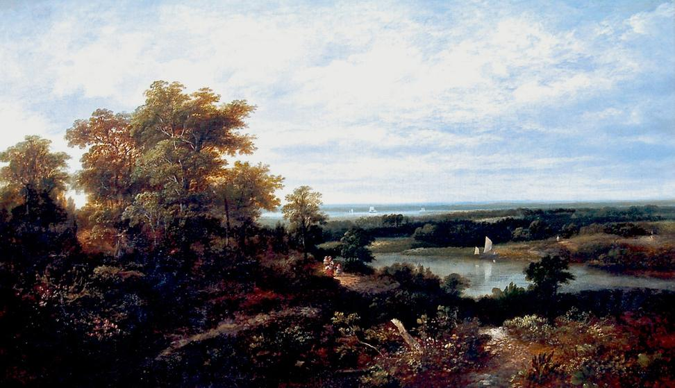 ROBERT HAVELL (1793-1878).  View of the Hudson.  Oil on canvas, 30 x 50 inches.