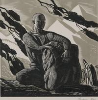 Voyaging (Self Portrait) or (The Wayfarer).  Rockwell Kent, American, 1882 1971.  Wood engraving (chiaroscuro), Image: 6 x 6 inches (15.2 x 15.2 cm).  Philadelphia Museum of Art, Purchased with the Leo Model Foundation Curatorial Discretionary Fund,