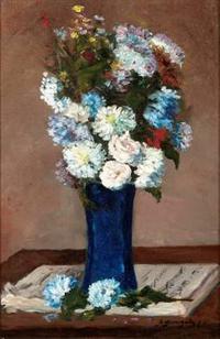 """""""Fleurs dans un vase avec partition musicale"""" by Paul Gauguin."""