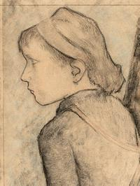 """Aline,"" charcoal sketch, by Paul Gauguin."