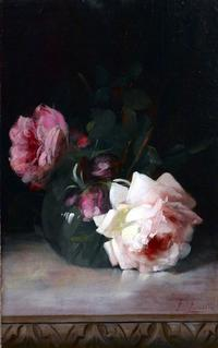 "Frederick M.  Fenetti (1854-1915) Still Life with Roses, signed lower right, oil on canvas, 14"" x 10"""