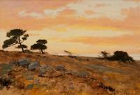 Lockwood de Forest (1850-1932) Sunset on the California Coast Oil on artist's card stock 9 ¾ x 14 inches