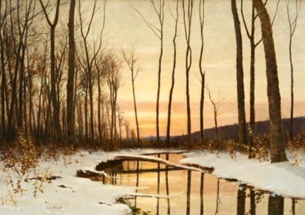 Lockwood de Forest (1850-1932) Winter Twilight, Hudson, New York 1900 Oil on canvas 21 ½ x 30 inches Signed and dated lower left: L De Forest, 1900