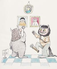 "Ink and watercolor original drawing of two ""Wild Things"" viewing an exhibition of their creator Maurice Sendak, 11-3/4 x 10-1.4 inches.  Copyright © The Maurice Sendak Foundation.  The exhibition and sale of works by internationally beloved children's book author, Maurice Sendak, at the upcoming Brooklyn Antiquarian Book Fair, September 8-10 at the Brooklyn Expo Center in Greenpoint, is the first to be held in his native Brooklyn."