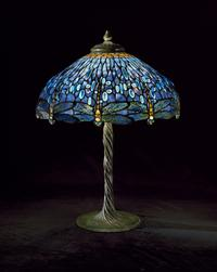 Tiffany Studios (New York) Dragonfly Library Lamp, ca.  1905–10 Leaded glass; cast bronze Gift of Walter P.  Chrysler, Jr.