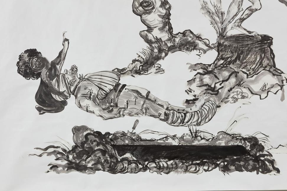 Kara Walker, Detail of U.S.A.  Idioms, 2017.  Sumi ink and collage on paper, 120 x 175 inches (304.8 x 444.5 cm)