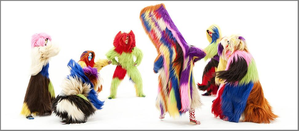 An exhibition of works by Nick Cave at the Anderson Collection features a number of his Soundsuits, full-body-sized sculptures that are sometimes worn as costumes and performed in.  They conceal the wearers' identity to leave no indication of race, gender or age.