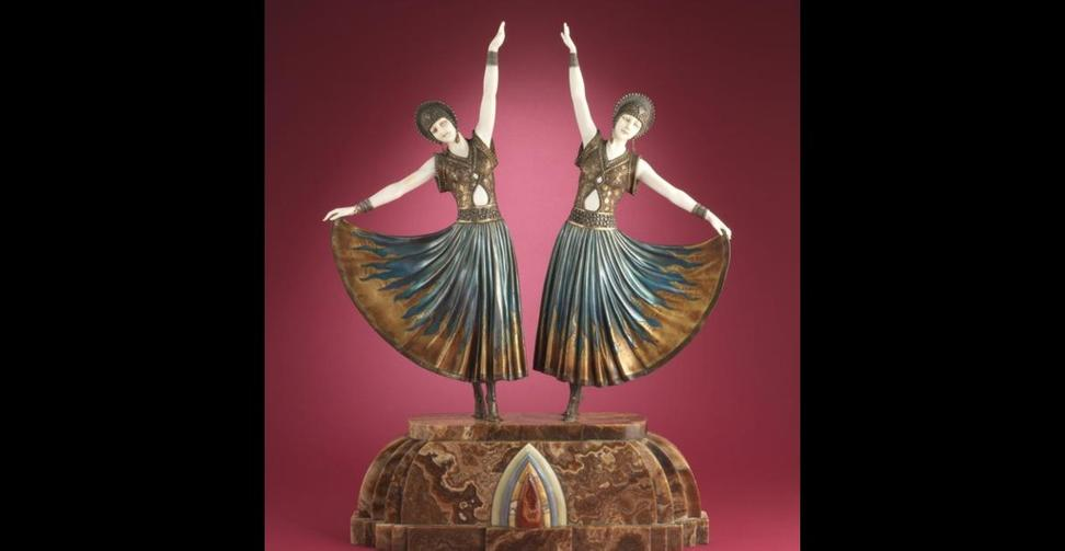 "Demetre Chiparus, bronze and ivory group, ""The Dooly Sisters."""