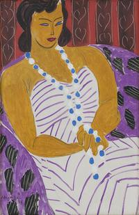 Henri Matisse, Dame à la robe blanche (Woman in White), 1946, Oil on canvas; 96.5 x 60.3 cm.  Des Moines Art Center, Acc.  No.  1959.40.  Courtesy The Matisse Foundation.  © 2017 Succession H.  Matisse / Artists Rights Society