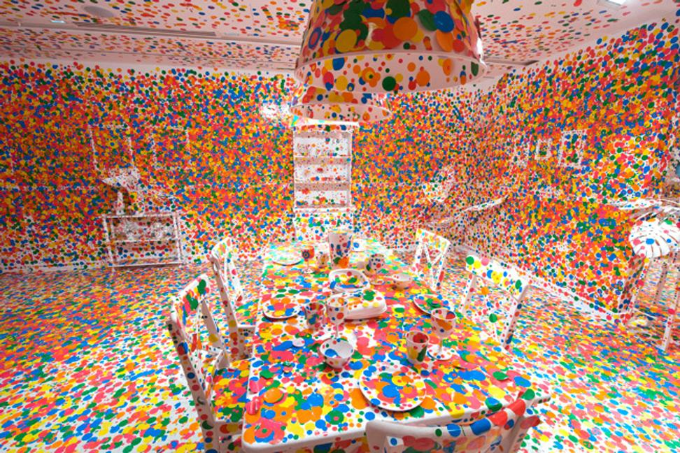 """The Obliteration Room"" (2002).  Collaboration between Kusama and Queensland Art Gallery, commissioned by Queensland Art Gallery.  Artworks © Yayoi Kusama."