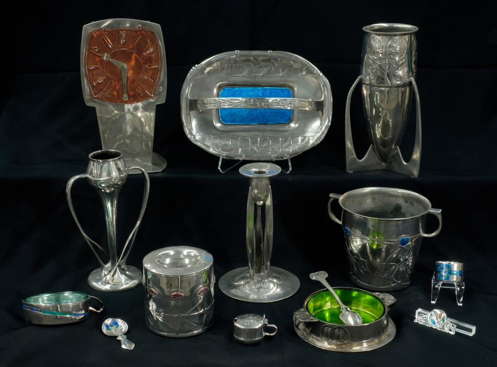 Liberty of London, 1899-1905, pewter and silver, most designs by Archibald Knox.  Collection of Kirkland Museum of Fine & Decorative Art.