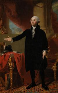 A copy Gilbert Stuart's Lansdowne portrait as displayed in the White House.