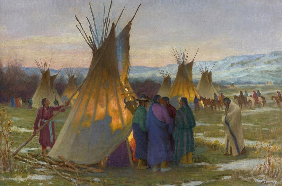 Joseph Henry Sharp (American, 1859–1953) Council Call of Crows, Montana, ca.  1908 Oil on canvas, 20⅛ × 30¼ in.  Stark Museum of Art, Orange, Texas, 31.25.35