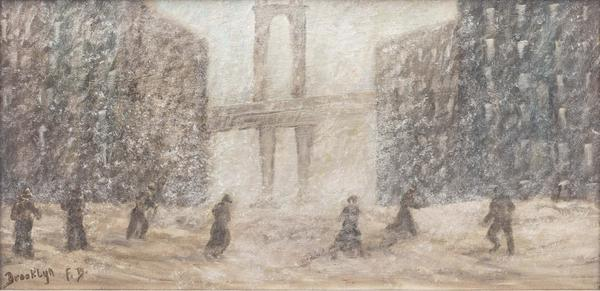 FRITZ BACHMEYR (b.  1944), Snow Scene in Brooklyn, NY.  Oil on board, 10 x 20 inches.  Signed and inscribed with location, lower left.