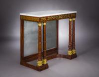 Attributed to Joseph Barry (1757–1838), Philadelphia (active 1794–1833) Monumental Pier Table with Brass Inlay, about 1815 Mahogany and rosewood, with gilt-brass mounts, die-stamped brass inlay, some inset with ebony, mirror plate, and marble 39 1/8 in.  high, 44 1/4 in.  wide, 21 7/8 in.  deep