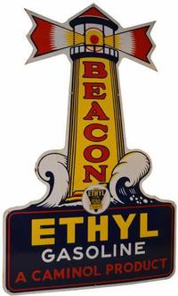 This Beacon Ethyl single-sided porcelain sign from around 1940 fetched $55,000.