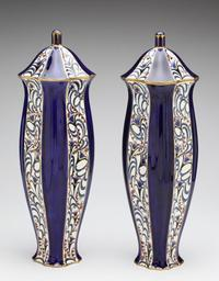 Ernest Wahliss Blue Blossoms, c.  1912 Earthenware 21 h x 6.50 w in.