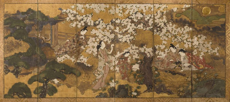 circle of iwasa matabei 17th century composing poetry in a spring landscape est