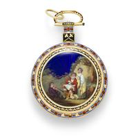 Ilbery, London.  A fine enameled gold duplex watch for the Chinese market.  No.  6195, first quarter 19th century, 58mm.  Estimate: $ 40,000 - 60,000.