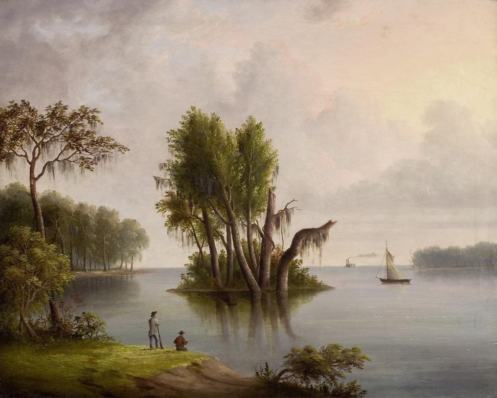 Robert Brammer (1811-1853), Mississippi Panorama, 1842-53.  oil on canvas.  29 x 36 in.  Private Collection.