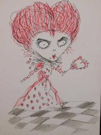 Just in time for Halloween, there are two drawings attributed to movie maker-artist Tim Burton: Red Queen (shown, est.  $10,000-$12,000); and Batman and Robin (est.  $8,000-$12,000).