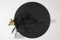 Through an Empty Place (The Fox Emerging from Shadow), 2017 Stoneware, paint, wood 47h x 67w x 12d in