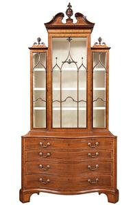George III Inlaid Mahogany China Cabinet, Circa 1765, in the manner of Thomas Chippendale.  Est.  $100,000-200,000