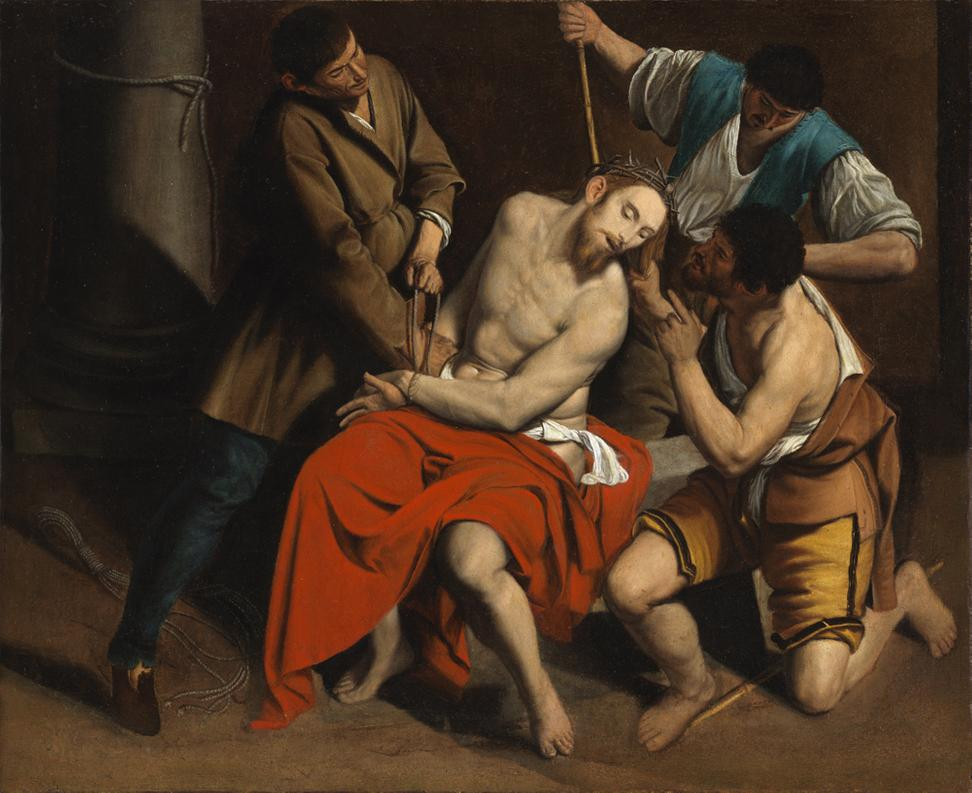 Orazio Gentileschi (Pisa 1563– London 1639) The Crowning with Thorns, Oil on canvas 410 x 515 cm.  (16 x 20 in.)