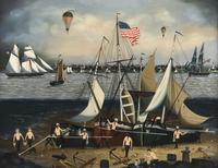 On Shore for Repairs by Ralph E.  Cahoon, Jr.  sold for $156,000 at Eldred's Americana & Paintings Auction.
