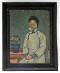 19th century oil on canvas laid on Masonite Chinese Canton Trade painting of a woman seated in a robe, 28 inches by 23 inches framed (est.  $1,000-$1,500).