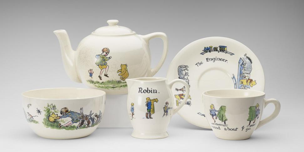 Christopher Robin ceramic tea-set presented to Princess Elizabeth, hand-painted, Ashtead Pottery, 1928 Photograph:Royal Collection Trust/© Her Majesty Queen Elizabeth II 2017.
