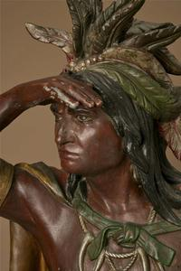 A rare zinc Cigar Store Indian by Wm.  Demuth in Western Design Auction closing May 11.