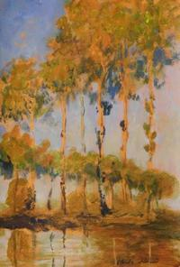 Diminutive tempera on paper done in the manner of Claude Monet (Fr., 1840-1926), titled Poplars (est.  $50,000-$80,000).