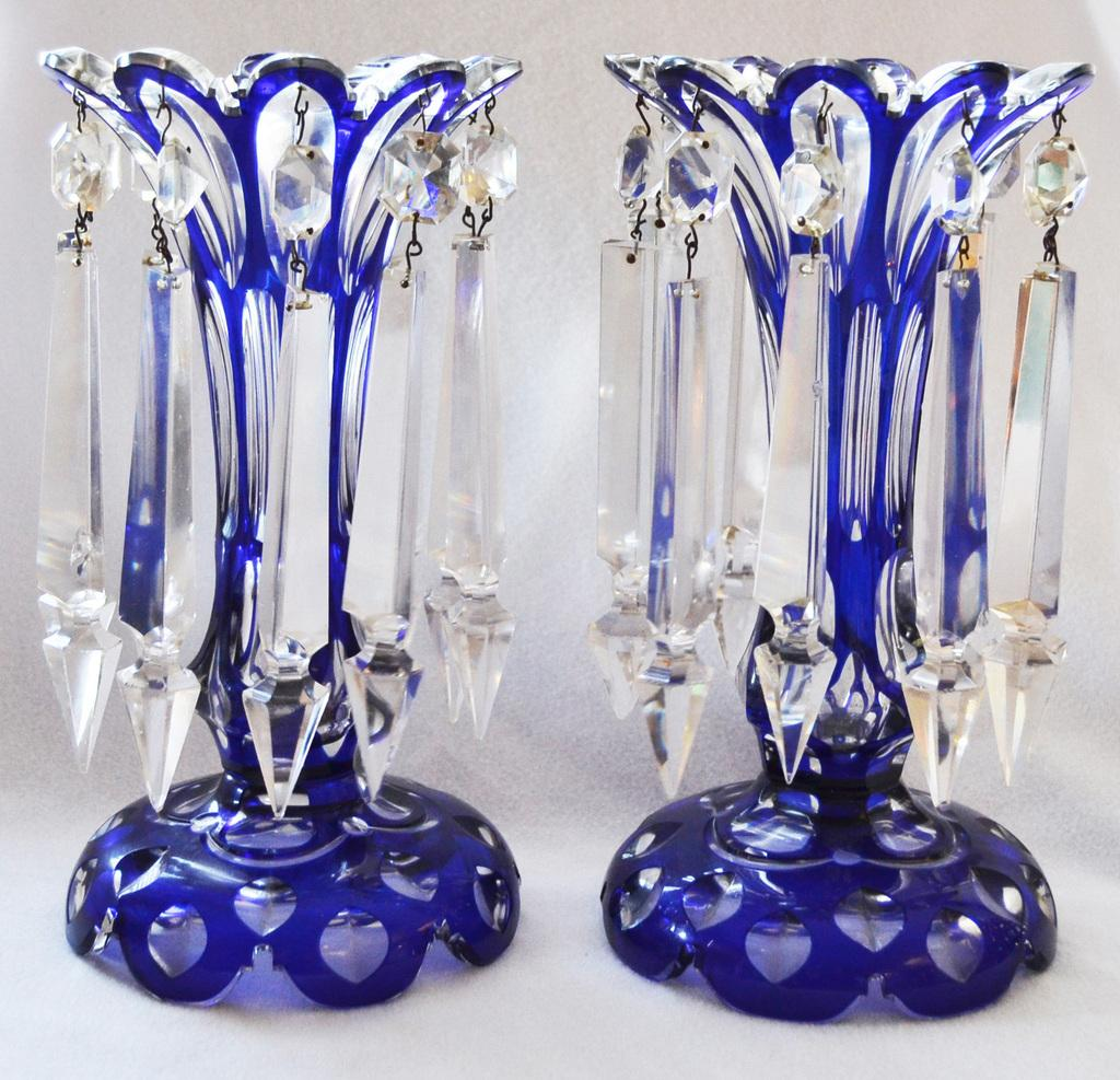 vase glass vases blue cut lot