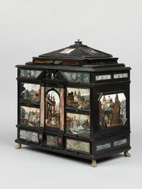 Castrucci workshop, Collector's cabinet , ca.  1610, Macassar ebony with ebonized and gilded wood, and pietre dure , Victoria and Albert Museum, London, Gilbert Collection
