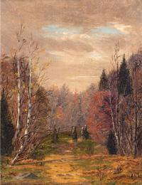 Edith Wilkinson Cook (Died 1902).  Autumn.  Oil on canvas, 7 ¼ x 5 5/8 inches.  Signed and dated lower left.