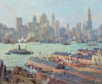 Oil on board painting by Colin Campbell Cooper (Am., 1856-1937), titled New York From Brooklyn, artist signed, 25 inches by 30 inches (est.  $200,000-$300,000).
