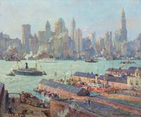 The top lot of the sale was this oil on board by Colin Campbell Cooper (Am., 1856-1937), titled New York From Brooklyn, artist signed, 25 inches by 30 inches ($162,500).