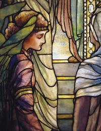 "Tiffany Studios, New York Frederick Wilson, designer The Righteous Shall Receive a Crown of Glory (detail), Brainard Memorial Window for Methodist Church, Waterville, New York, ca.  1901 Leaded glass, 12-3/5 x 7-2/3 feet Marked ""Tiffany Studios/New York"" Corning Museum of Glass, Corning, New York"