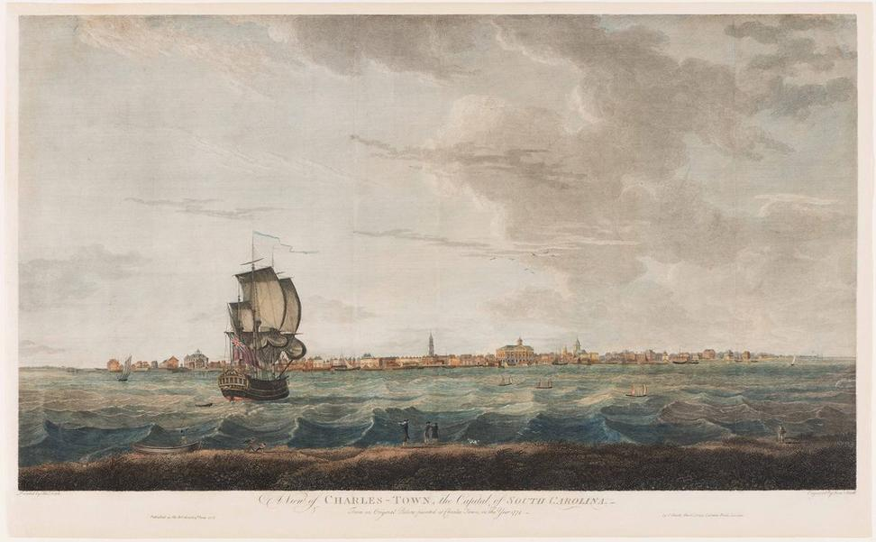 A View of CHARLES-TOWN, the Capital of SOUTH CAROLINA; engraved by Samuel Smith after Thomas Leitch; hand-colored line engraving; London, England, June 3, 1776; Museum Purchase, The Friends of Colonial Williamsburg Collections Fund, 2017-287.