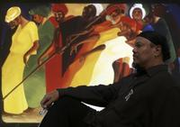 "Artist longside his Masterpiece ""Dancing for the Lord"" in the Collection of Oprah Winfrey."