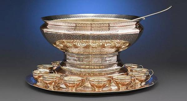 Tiffany & Co.  silver punch set inlaid with copper, circa 1906.