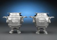 Matching pair of Regency wine coolers crafted by silversmith Paul Storr for HRH Princess Beatrice.