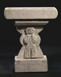 William Edmondson, Untitled (Bird Bath with Figures), 1932-1940.  Carved limestone.