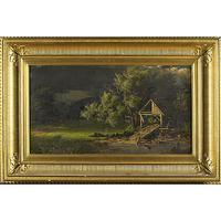 "JOHN S.  JAMESON (American, 1842-1864) Oil on canvas of a landscape, possibly ""A Storm - Summer Afternoon"" (framed).  Relined.  Signed and dated.  20"" x 36"" Estimate: $15,000 - $30,000"