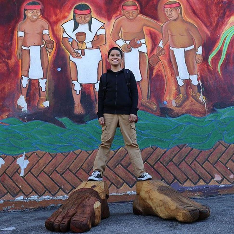 Feet from the Leonard Peltier statue by Rigo 23 went on a journey documented on Instagram, from California to Washington, D.C., including a stop at Standing Rock Reservation in North Dakota.  @semillascommunityschools